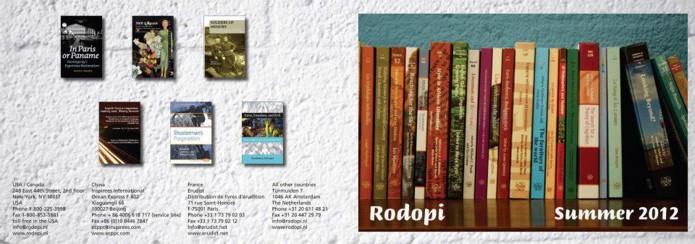 Editions Rodopi brochure omslag