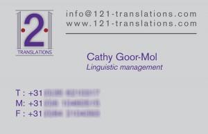 Visitekaartje 121 translations